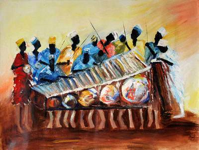 'Gonja Drummers and Xylophone Players' - Expressionist Acrylic Painting