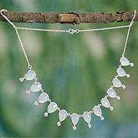 Chalcedony waterfall necklace,