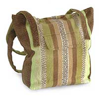 Alpaca shoulder bag, 'Green Fields' - Alpaca Wool Tote Handbag from Peru