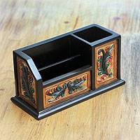 Cedar and leather desk organizer, 'Andean Meadows' - Hand Tooled Multicolor Leather Desk Organizer