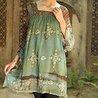 Beaded long tunic, 'Glorious Jaipur' - Long Shibori-Dyed Green and Brown Tunic Top with Sequins