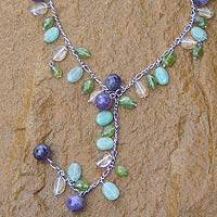 Amethyst and peridot Y necklace,