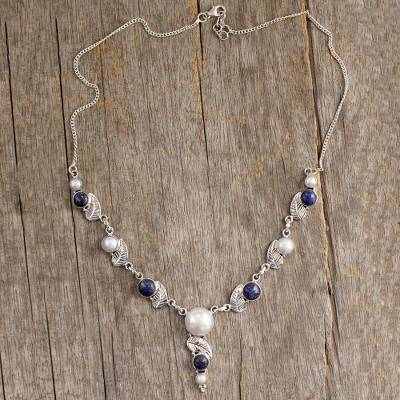 Cultured pearl and lapis lazuli Y-necklace, 'Tropical Berry' - India Cultured Pearl and Lapis Lazuli Necklace in Silver