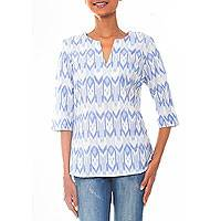 Cotton tunic, 'Miki Ikat' - Hand Dyed Blue and White Ikat Tunic from Bali
