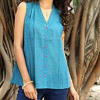 Cotton blouse, 'Teal Sparkle' - Turquoise Sleeveless Cotton V-Neck Blouse with Sequins