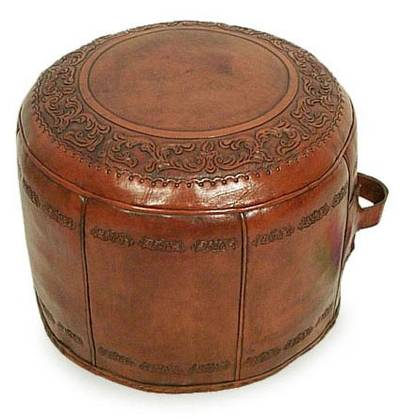 Colonial Leather Pouf Ottoman Cover, 'Spanish Elegance'