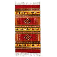 Zapotec wool rug Red Mexican Chrysanthemum 2.5x5 Mexico