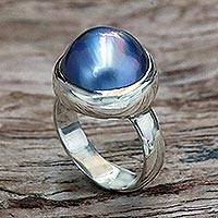 Cultured Pearl solitaire ring, 'Blue Bubble Beauty' - Fair Trade Pearl and Sterling Silver Ring