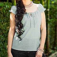Cotton blouse, 'Jade Thai' - Handmade Cotton Blouse