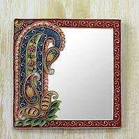 Marble dust wall mirror, 'Blossoming Reflections' - Handcrafted Marble Dust Art on Wall Mirror