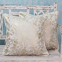 Cotton cushion covers, 'Golden Breeze' (pair) - Off White Cotton Cushion Covers with Golden Patterns (Pair)