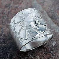 Sterling silver band ring, 'Andes Sun' - Peruvian Wide Band Ring Handcrafted in Sterling Silver