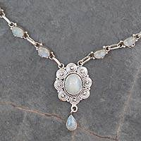 Rainbow moonstone pendant necklace, 'Cloud Song' - Artisan Rainbow Moonstone Pendant Necklace