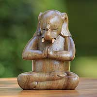 Wood sculpture, 'Sitting Ganesha' - Handcrafted Wood Hindu Sculpture