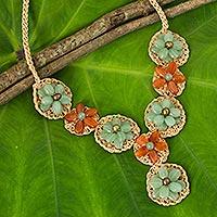 Carnelian and quartz flower necklace,