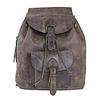 Leather backpack, 'Brown Highroad' - Weathered Brown Leather Backpack from Mexico