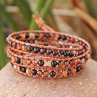 Jasper wrap bracelet, 'Caramel Sunset' (Thailand)