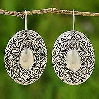 Sterling silver drop earrings, 'Sun Shield' - Sterling silver drop earrings