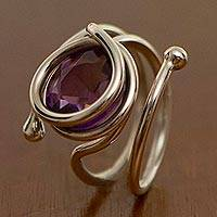Amethyst cocktail ring, 'Transformation' - Amethyst cocktail ring