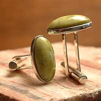 Serpentine cufflinks, 'Sentinel' - Handsome Serpentine Silver Cufflinks from Peru