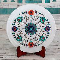 Marble inlay plate, 'Spring Muse' - Handcrafted Inlay Marble Decorative Plate