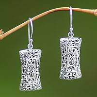 Sterling silver dangle earrings, 'Treasure Chest' - Artisan Jewelry Sterling Silver Dangle Earrings