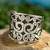 Silver cuff bracelet, 'Natural Muse' - Taxco Jewelry Silver Handcrafted Bracelet Cuff