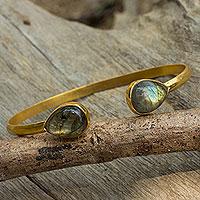 Gold plated labradorite cuff bracelet,