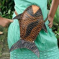 Leather shoulder bag, 'Amazon Fish' - Hand Crafted Leather Shoulder Bag