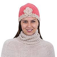 100% alpaca hat, 'Coral Bloom' - Hand Crocheted Alpaca Hat from Peru in Pink and Beige