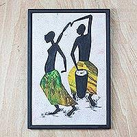 'Drummer and Dancer' - African Folk Art Painting