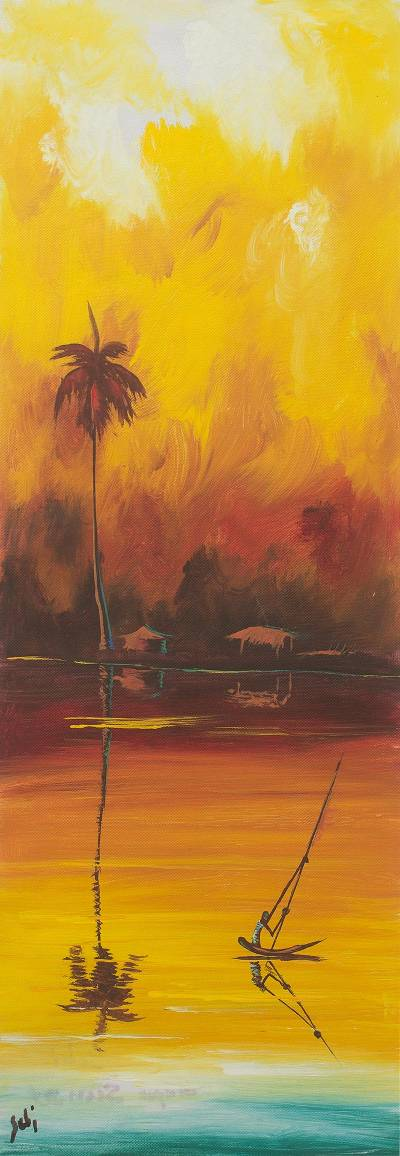 'Totope Sunset' - African Painting of Sunset on Water from Ghana Artist
