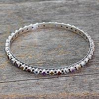 Multigemstone bangle bracelet, 'Multicolor Energy' (India)