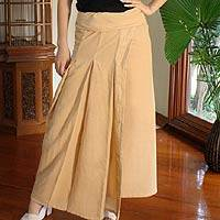 Cotton wrap around skirt, 'Thai Sands' - Cotton Wrap Skirt