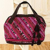 Cotton bowling handbag, 'Chiquin' - Guatemalan Hand Woven Cotton Handbag with 2 Pockets