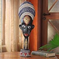 Ghanaian wood mask sculpture, 'Ashanti Woman' - African wood mask sculpture