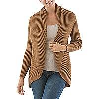 Alpaca blend cardigan, 'Divine Tan' - Brown Ribbed Alpaca Blend Open Front Cardigan Sweater
