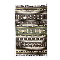 Jute area rug, 'Evening Fog' (4x6) - Artisan Crafted Jute Area Rug with Geometric Motif (4x6)