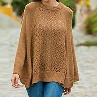 Alpaca blend poncho, 'Andes in Brown' - Knit Brown Alpaca Blend Poncho with Fretwork from Peru