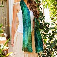 Bamboo chenille and cotton scarf, 'Emerald Dreamer' - Handcrafted Bamboo Chenille Cotton Blend Scarf