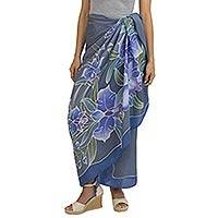 Silk batik sarong, 'Midnight Cattleya' - 100% Thai Silk Sarong Wrap with Hand-printed Batik Orchids