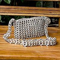 Soda pop-top cell phone bag, 'Silver Mini Charm' - Crochet Aluminum Pop-Top Cell Phone Bag with Strap