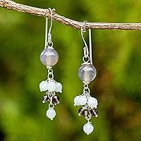Amazonite and smoky quartz dangle earrings,