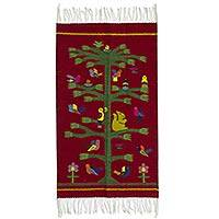 Zapotec wool rug, 'Fiesta of the Birds'  (2x3) - Handwoven Burgundy Zapotec Rug with Bird Motifs (2x3)