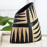 Ceramic vase, 'Rain Forest Shadows' - Honduran Artisan Crafted Ceramic Vase by Lenca Artisans