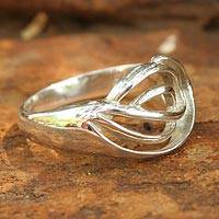 Sterling silver cocktail ring, 'Shining Grace' - Modern Sterling Silver Band Ring