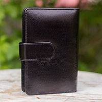 Leather wallet and phone holder, 'Infinite Black' - Leather wallet and phone holder