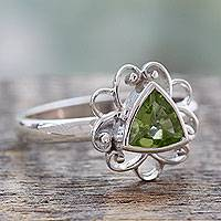 Peridot cocktail ring, 'Delhi in Green' - Peridot and Sterling Silver Handcrafted Ring