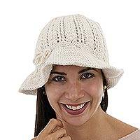 100% alpaca hat, 'Andean Flirt' - Ivory Color Alpaca Hat Knitted by Hand with Openwork