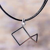 Sterling silver pendant necklace, 'Abstract Fish' - Leather and Sterling Silver Abstract Fish Design Necklace